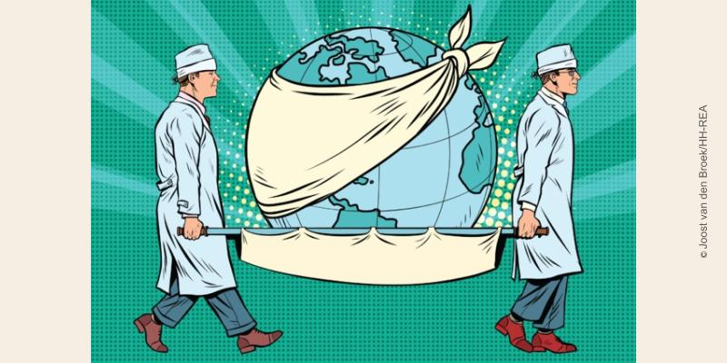 visuel Terre malade portée sur un brancard par 2 infirmiers