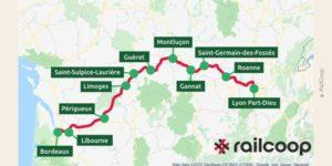 Trajet parcouru de Bordeaux à Lyon par le projet de RailCooop